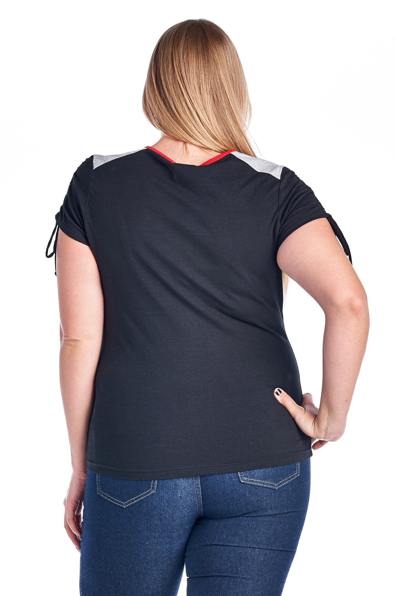 Women's Plus Size V-Neck Top with Sleeve Ties