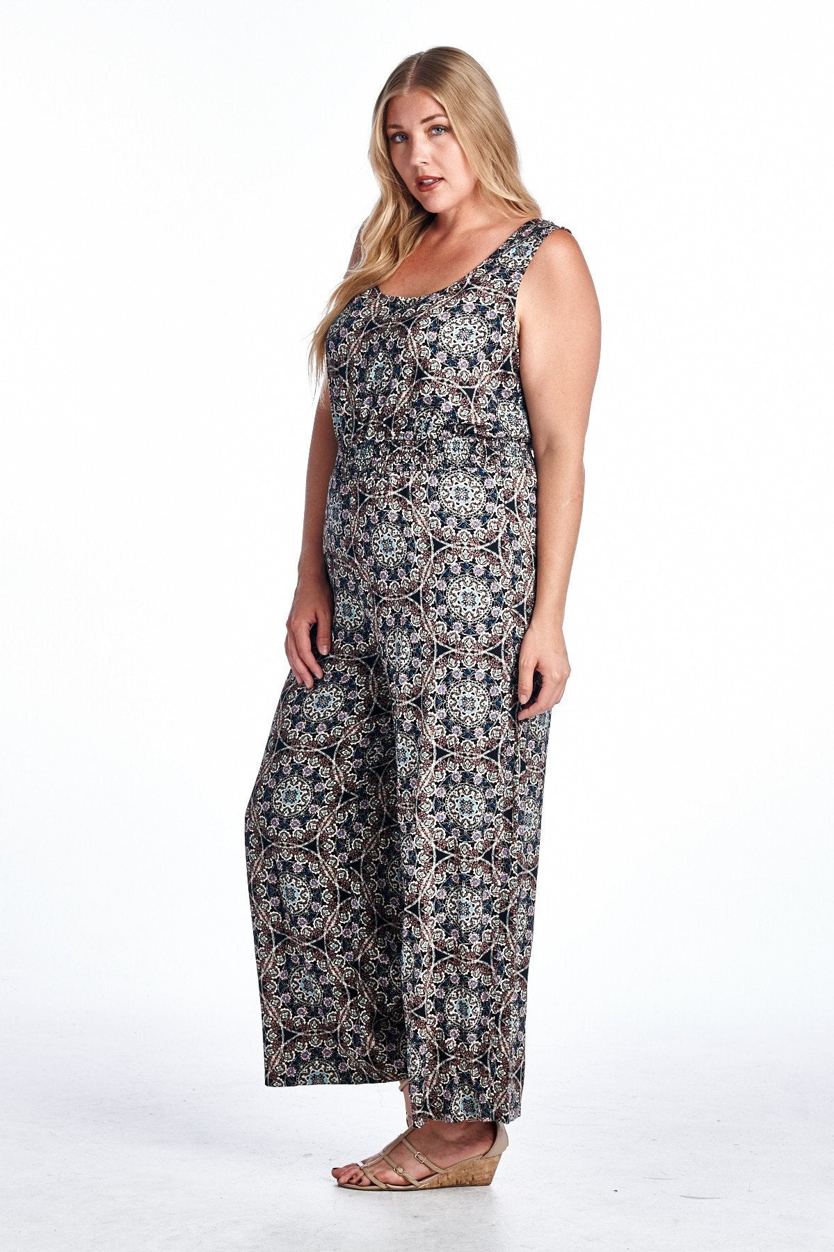 Women's Plus Size Medallion Print Sleeveless Jumpsuit