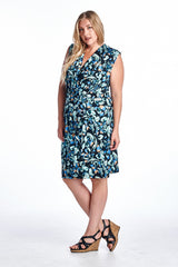 Women's Plus Size Sleeveless Wrap Dress with Trim