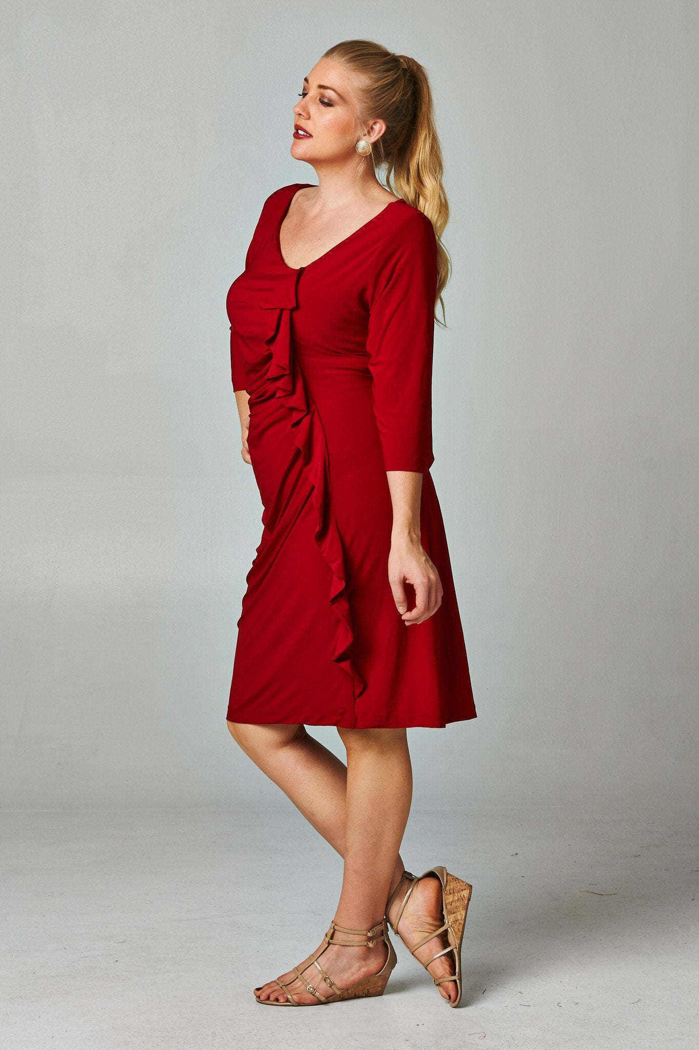 Women's Plus Size Side Ruffle Dress