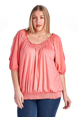 Women's Plus Size Smocked Peasant Top