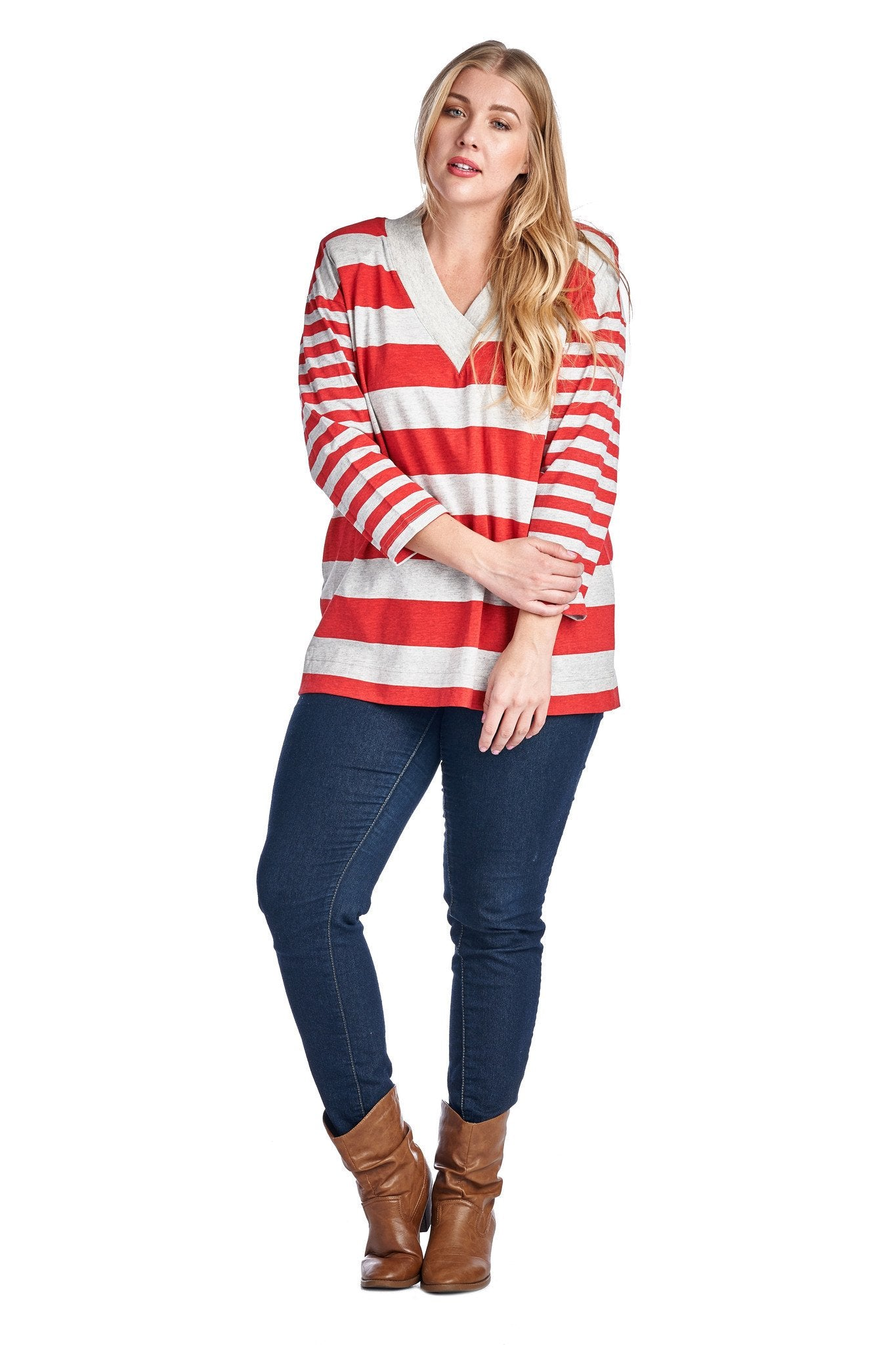 Women's Plus Size Long Sleeve V-Neck Top