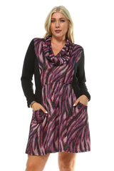 Women's Plus Size Draped Neckline Dress with Front Pockets