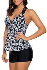 Patchwork Printed Tank Top and Boyshort Tankini Swimwear
