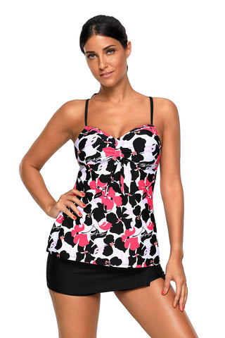 Red Black Floral Cami Tankini and Skirtini Swimsuit