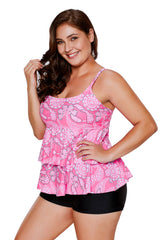 Pink Paisley Print Ruffle Layered Tankini and Short Set