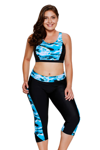 Aquatic Print Accent Crop Top&Capris Swimsuit