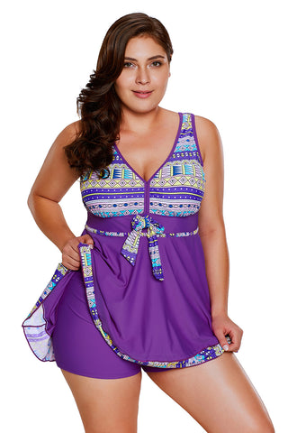 Orchid Tribal Print Accent Swimdress and Short Set