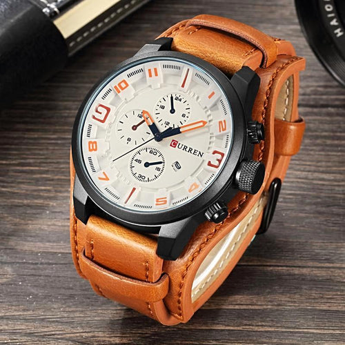 CURREN Waterproof Quartz Watch With Leather Strap - shopoile