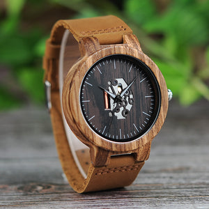 Natural Wooden Quartz Watch With Genuine Leather - shopoile
