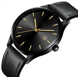 Luxury Stainless Steel Leather Quartz Watch