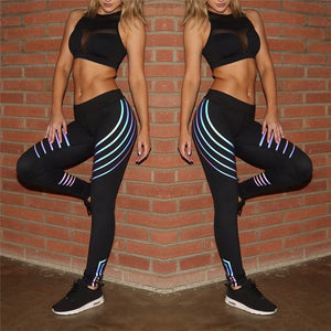 Glowing Stripe Yoga Fitness Leggings Running Gym Stretch Sports Pants - shopoile