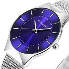 Top Luxury Blue Dial Ultra Thin Full Stainless Steel Quartz Watch - shopoile