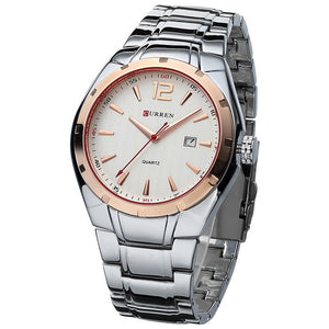 CURREN Luxury Full Stainless Steel Quartz Watch - shopoile