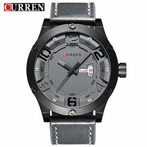 Latest Curren Quartz Watch Waterproof With Leather Strap - shopoile