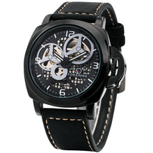 Automatic Mechanical Royal Look Watch With Leather Strap - shopoile