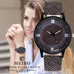 Hot Selling Wood Casual Leather Quartz Watch - shopoile