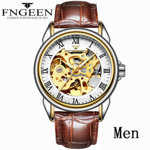 Automatic Mechanical Gold Fashion Skeleton Watch - shopoile