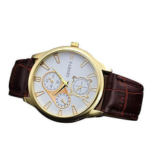 Geneva Men Retro Design PU Leather Alloy Quartz Watch - shopoile