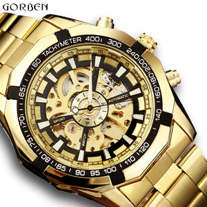Automatic Mechanical Stainless Steel Bracelet Self-wind Watch - shopoile