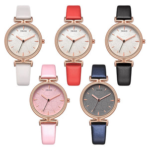 Stylish Dial Leather Strap Waterproof Quartz Watch - shopoile