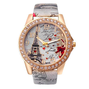 Luxury Eiffel Tower Pattern PU Leather Quartz Watches - shopoile