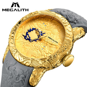 Top Luxury Gold Dragon Sculpture Waterproof Quartz Watch