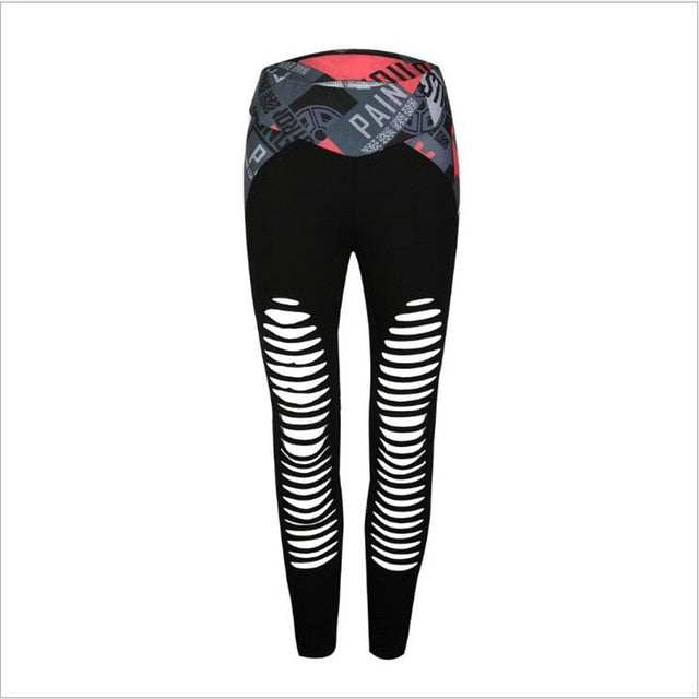 Hollow Out Printed Women Fitness Leggings Sportwear