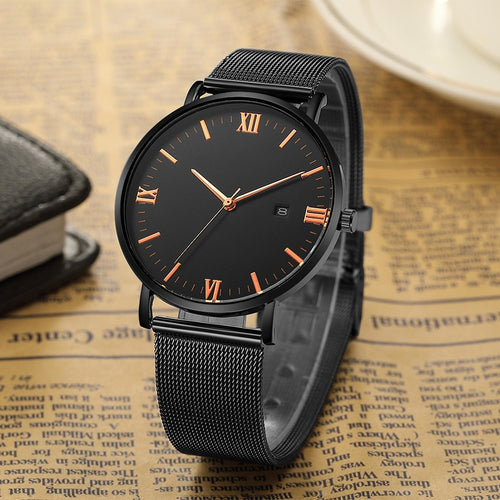 Luxury Ultra thin Stainless Steel Quartz Watch