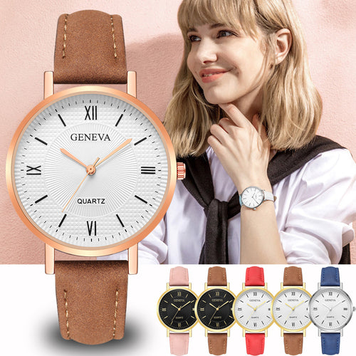 Leather Strap Women Watches