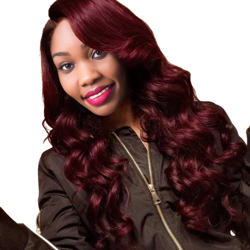 Burgundy Brazilian Hair Weave Bundles 99j Body Wave Bundles 10 24