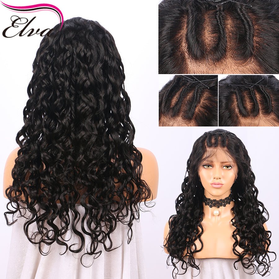 Elva Hair Gluelss Full Lace Human Hair Wigs For Black Women Brazilian  Natural Curly Remy Hair ... 1586f83df9