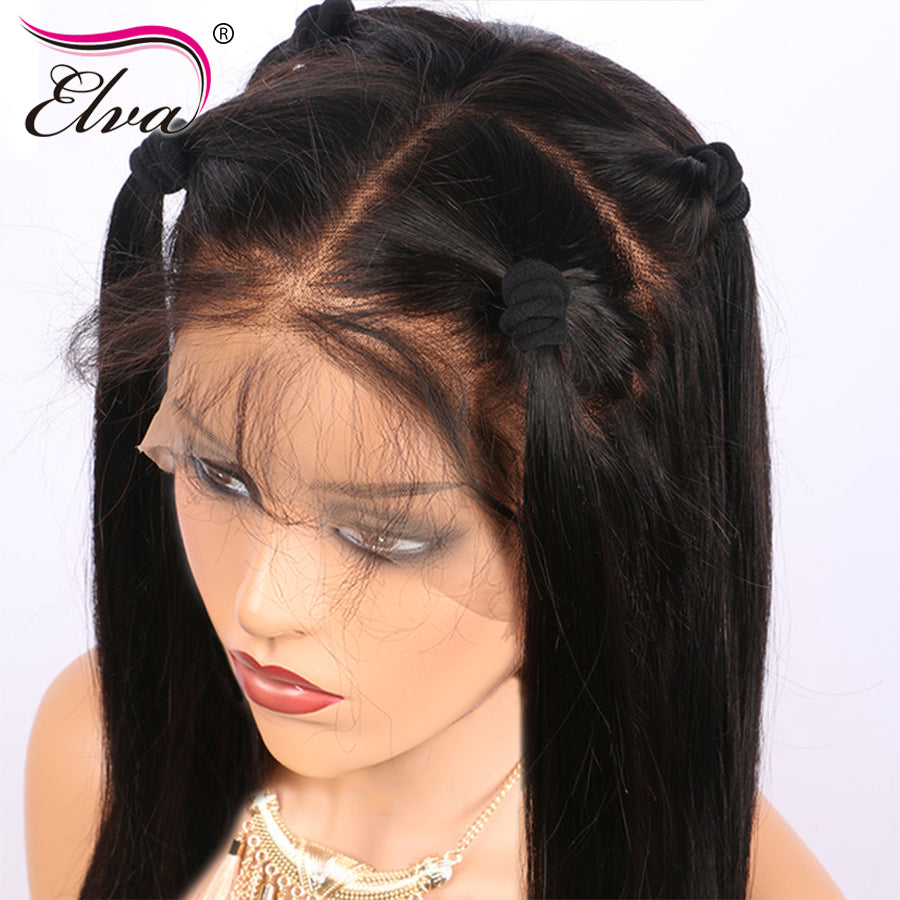 Elva Hair Human Hair Full Lace Wigs Pre Plucked Natural Hairline With Baby  Hair Straight Brazilian ... 624c55b0e