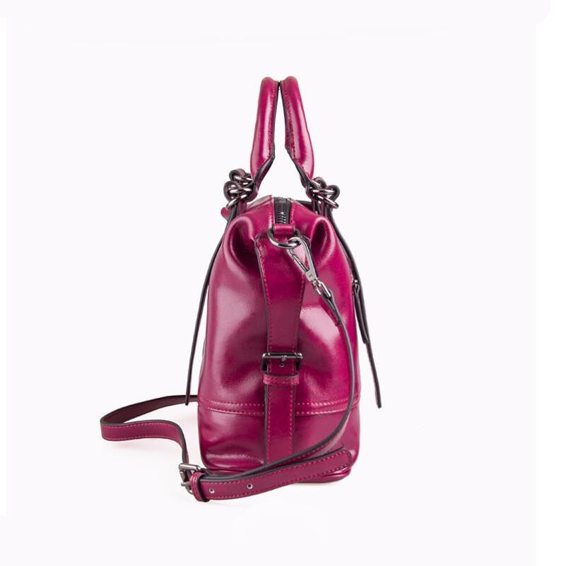 2441a4a1f5be ... FoxTail and Lily Genuine Leather Handbags Top Quality Oil Wax Cowhide  Vintage Tote Shoulder Bag Summer ...