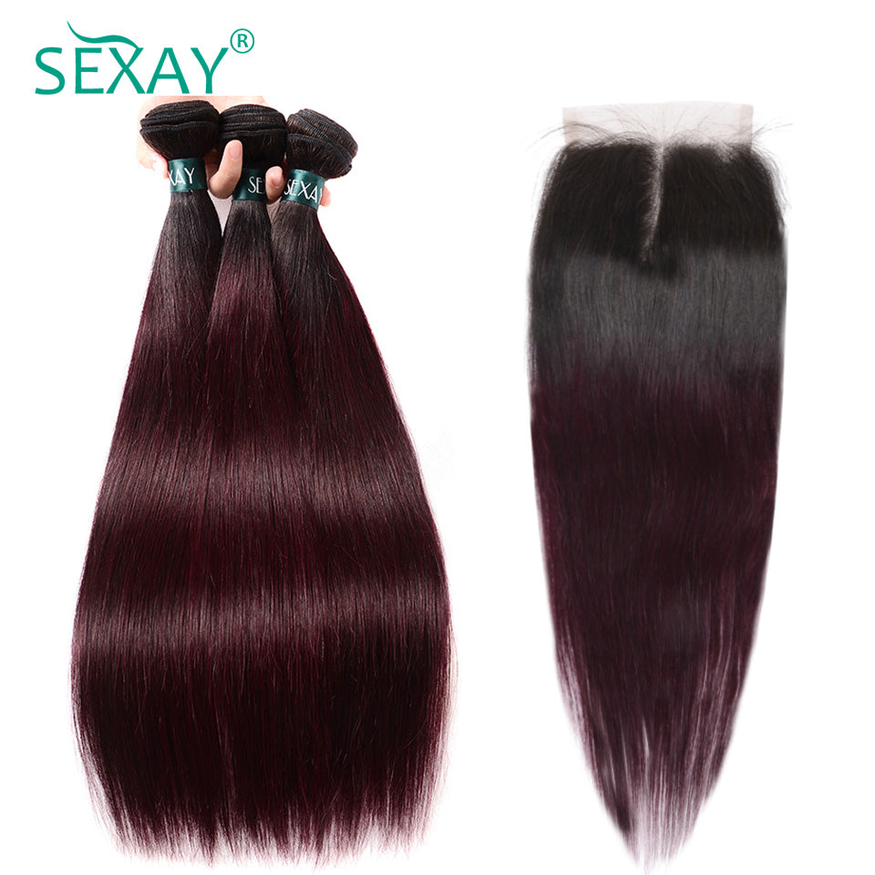 Ombre Hair 3 Bundles With Closure Sexay Professional 1b99j Burgundy