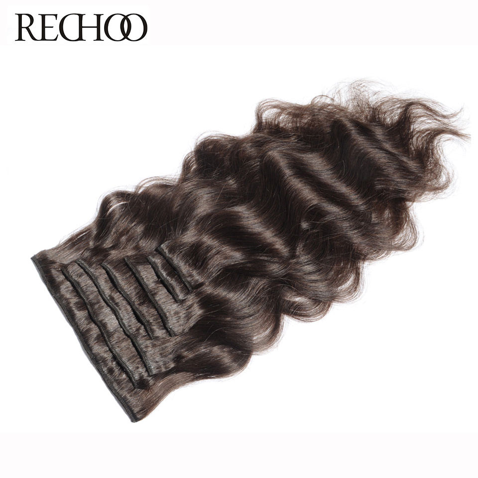 Rechoo Machine Made Remy Brazilian Clip In Human Hair Extensions