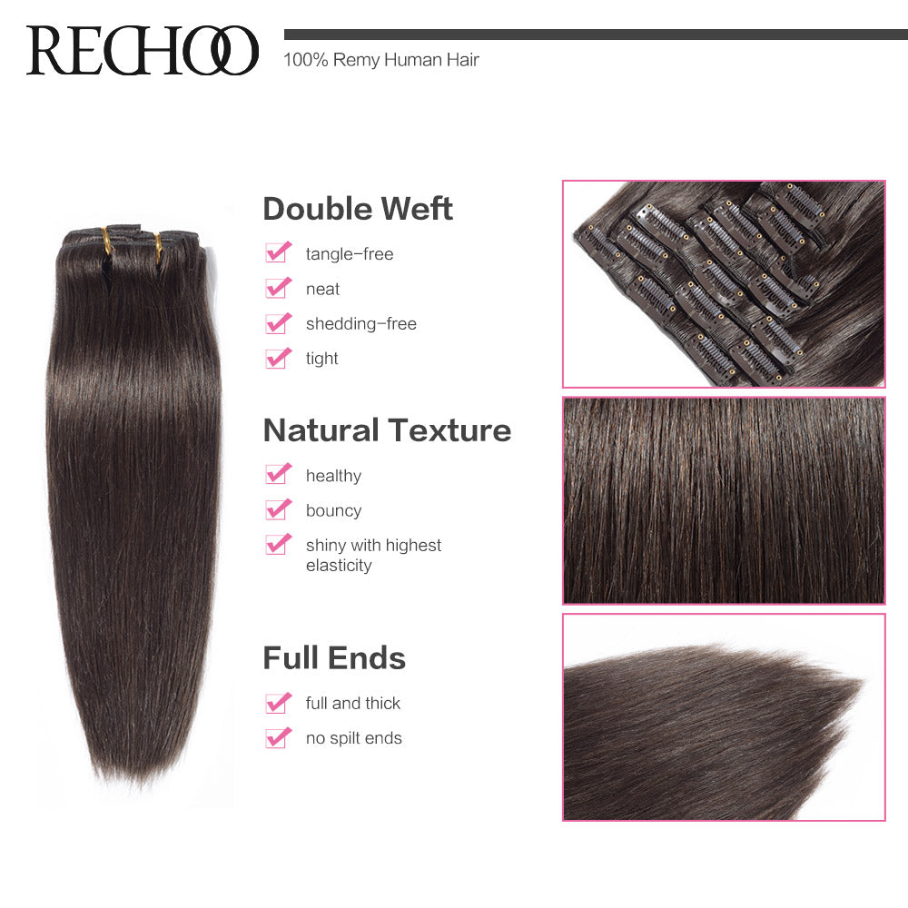 Rechoo Machine Made Remy Straight Clip In Human Hair Extensions 100g