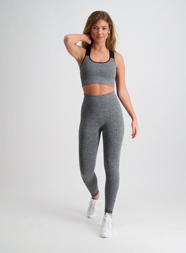 Grey Melange Ribbed Seamless Tights aim'n sportswear