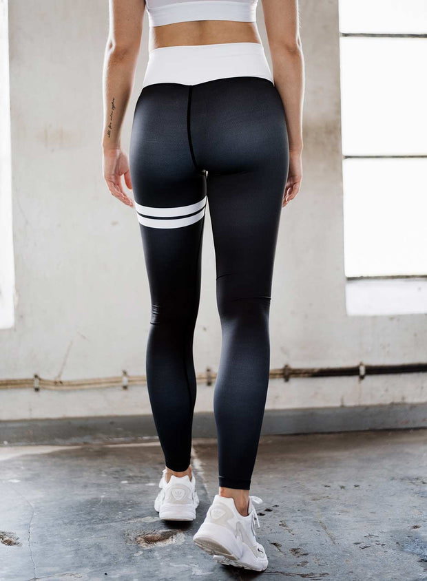 Black Stripe High Waist Tights