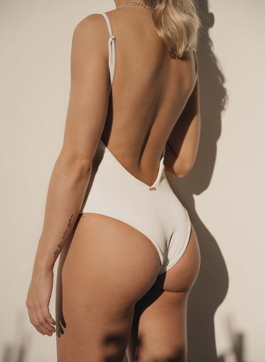 White Ribbed Swimsuit