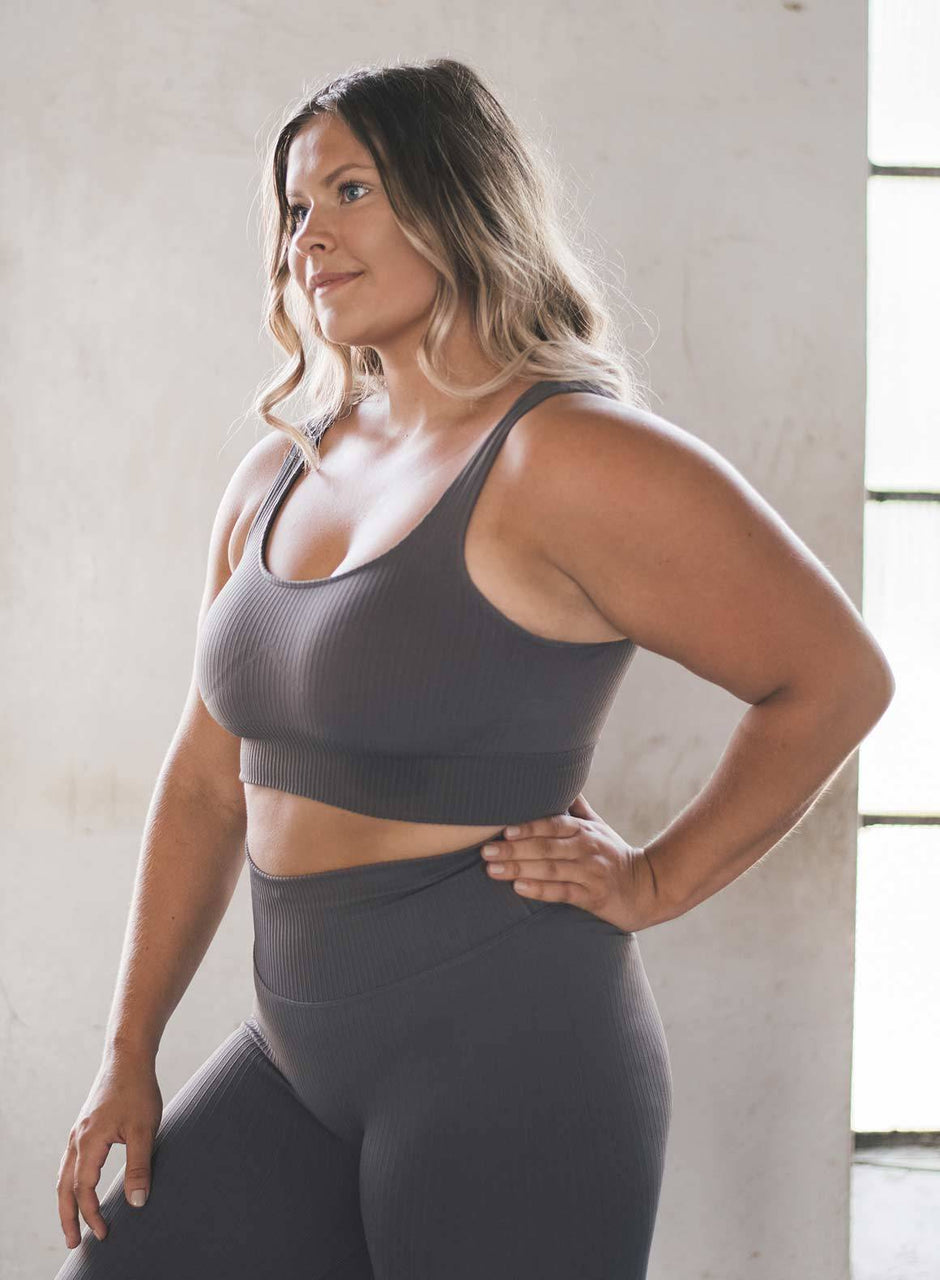 Concrete Ribbed Seamless Bra