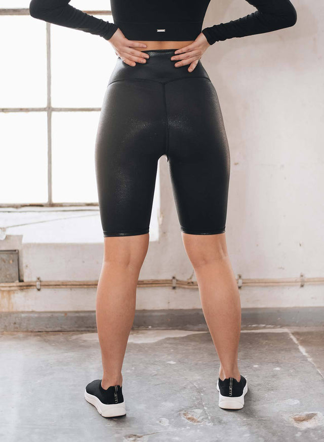 Black Shine On Biker Shorts aim'n sportswear