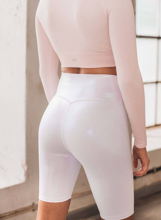 White Shine On Biker Shorts aim'n sportswear