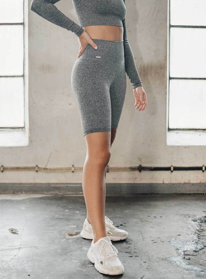 GREY MELANGE RIBBED BIKER SHORTS aim'n sportswear