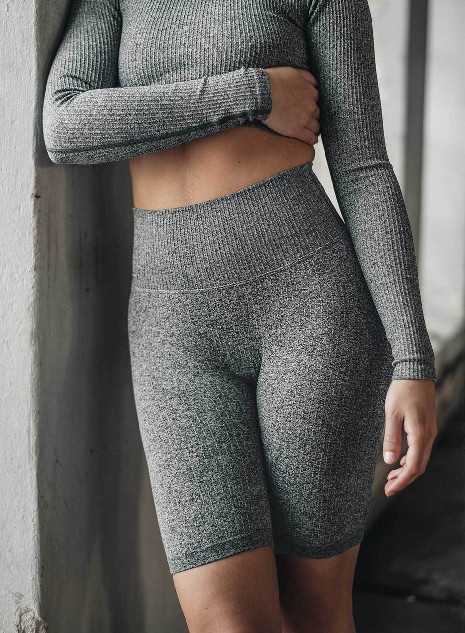 GREY MELANGE RIBBED BIKER SHORTS