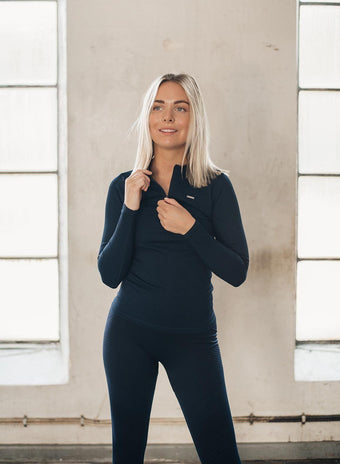 NAVY RIBBED ZIP LONG SLEEVE aim'n sportswear