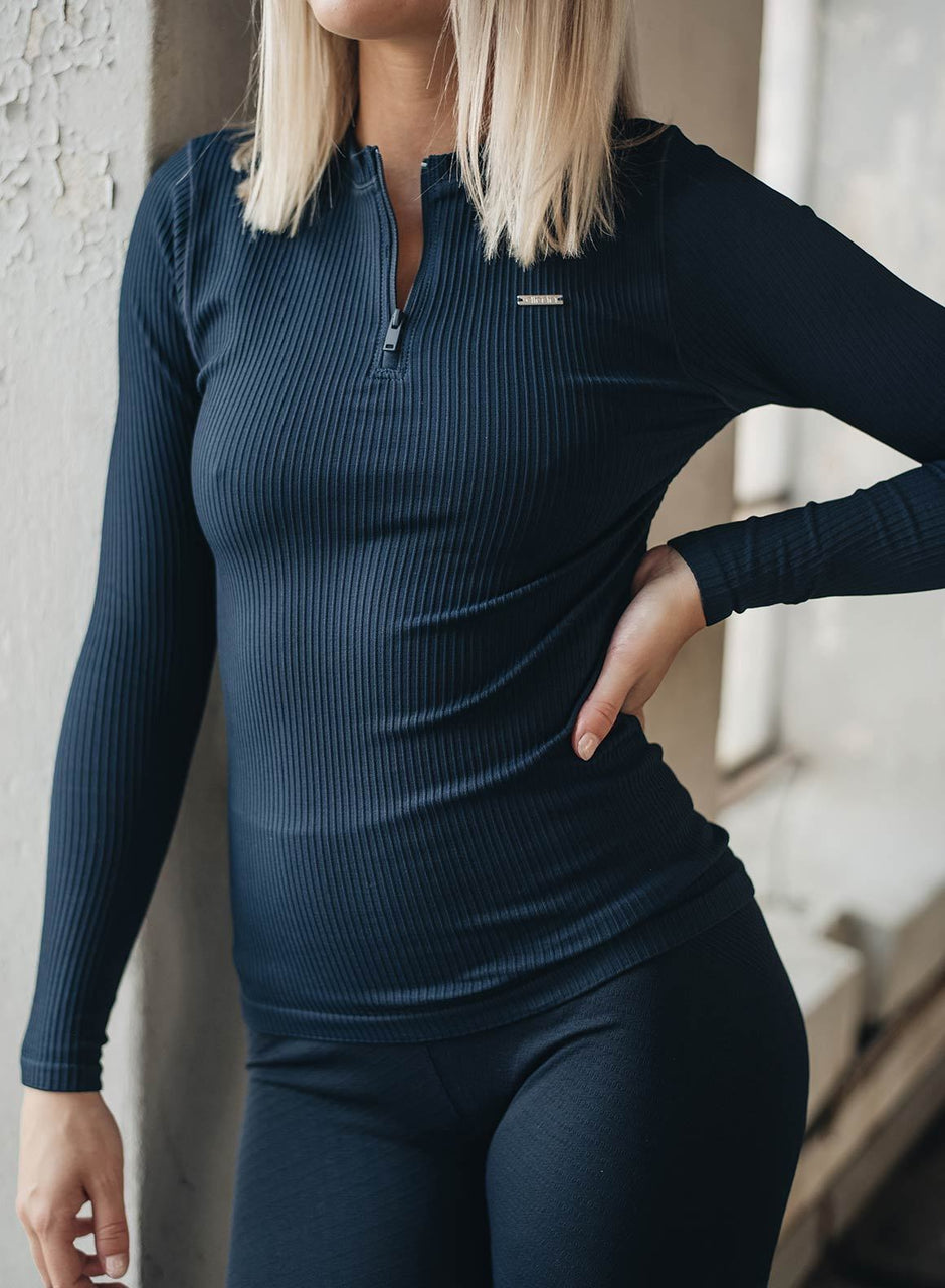 NAVY RIBBED ZIP LONG SLEEVE