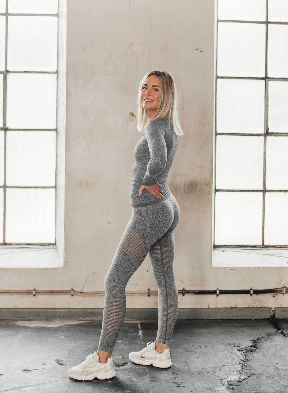 GREY MELANGE RIBBED LONG SLEEVE