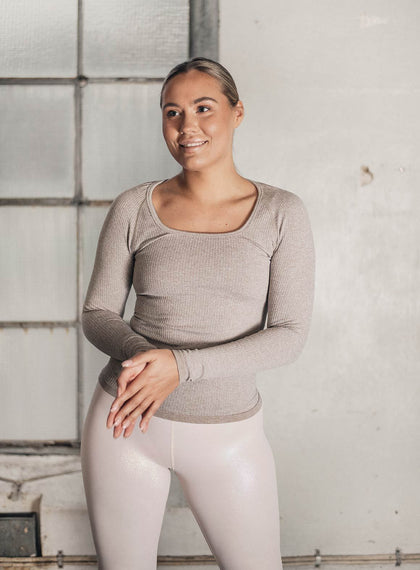 LATTE RIBBED SEAMLESS LONG SLEEVE aim'n sportswear