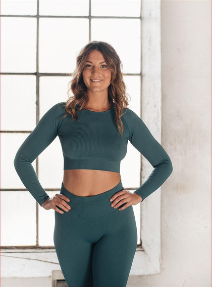 HYDRO RIBBED SEAMLESS CROP LONG SLEEVE aim'n sportswear